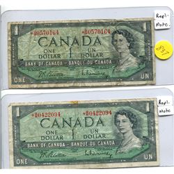2x 1954 Bank of Canada One Dollar Replacement Note