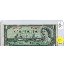 1954 Bank of Canada One Dollar Note with Five 9's