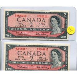 2x 1954 Bank of Canada Two Dollar Note