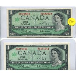 2x 1967 Bank of  Canada One Dollar Note with Serial Number