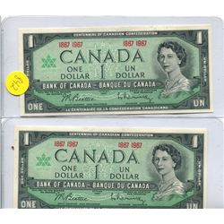 2x 1967 Bank of  Canada One Dollar Note without Serial Number