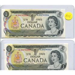 2x 1973 Bank of Canada One Dollar Note - Uncirculated
