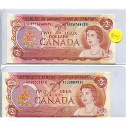 2x 1974 Bank of Canada Two Dollar Note - Uncirculated