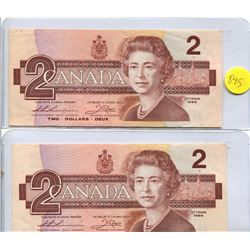 2x 1986 Bank of Canada Two Dollar Note