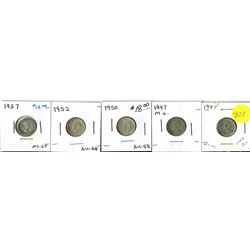 1947, 1947 ML, 1950, 1952, 57 (Uncirculated) - Canadian Ten Cent Coin