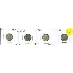 1958, 60, 61, 63 Canadian Ten Cent Coin Uncirculated