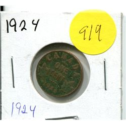 1924 Canadian One Cent Coin