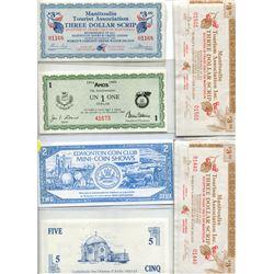 1987 Edmonton Coin Club Trade Bucks, 1989 Amos Trade Dollar, 1989 Five Dollar Amos Trade Dollars, 19