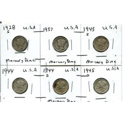 1928S, 1937, 1953S, 1944, 1944S, 1945D USA Mercury Dime