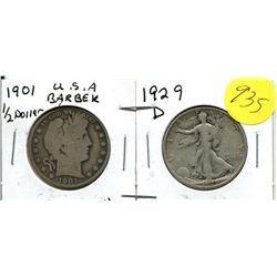 1901 USA Barber Half Dollar, 1929D USA Liberty Walking Half Dollar
