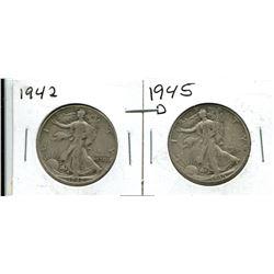 1942, 1945D USA Liberty Walking Half Dollar