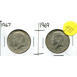 1967, 69 Kennedy Half Dollar