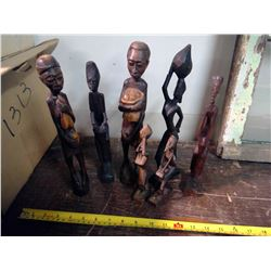 7 Wooden Carved Statues