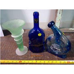 2 Glass Unique Liquor Bottles and Flower Vase