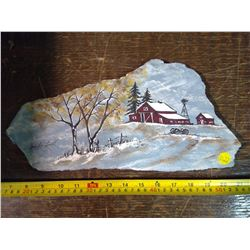 Signed Painting on Shale from Montana