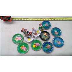 4 Coasters and Made in Occupied Japan Ornaments
