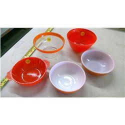 5 Vintage Orange/Brown Bowls