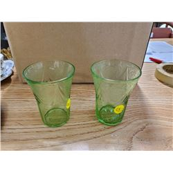 2 GREEN GLASS CUPS