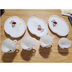 RED ROSE CUP AND TRAY SET