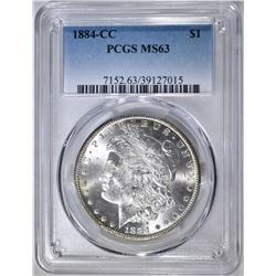 1884-CC MORGAN DOLLAR, PCGS MS-63 REV COLOR