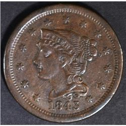1843 MATURE HEAD LARGE CENT XF