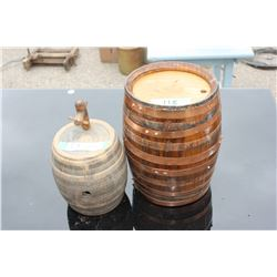 """Pottery Barrel with Spout (7"""" T) and and Wooden Barrel (10"""" T)"""