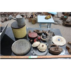 Table lot of Misc (Watering Can, Brake Lights, Lids and etc.)