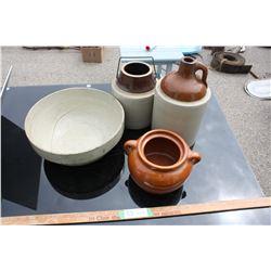 Pottery Bowl, Bean Crock (No Lid), Jug and Stoneware