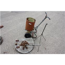 Vintage Fertilizer Spreader, Top of Vintage Washing Machine and Lightning Rod