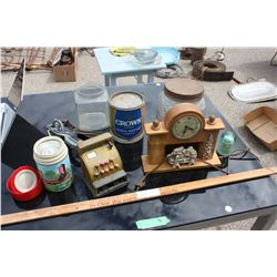 Misc Lot of items (Thermos, Clock, Syrup Tin etc.)