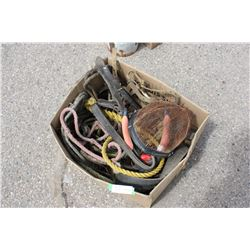 Box of Horse Related Items (Nose Basket, Ropes and etc)