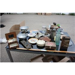 Table Lot of Misc, Late 50s Candy Box and etc