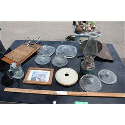 2 Bubble Glass Cups, Bracket Lamp and Plates with Misc Items