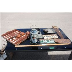 Table Lot and Misc, Old License Plates, Esso Oil,Backgammon and etc.
