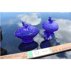 2X THE MONEY - 2 Glass Cobalt Blue Pieces