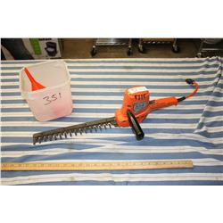 Electric Hedge Trimmer (Working) with Pail and Funnels