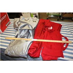 2 Red Curtain Panels & 1 Silver