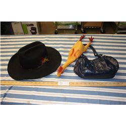 Hat (7 3/8th), Rubber Chicken and Small Purse