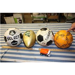 Lot of Sport Balls and Toy Truck