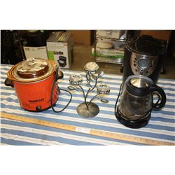 Oster Coffee Pot (Working), Crock Pot (Working) and Candle Holder