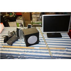 """Dell Monitor 19"""" (No Cord), Misc Speakers and Curtain Rod"""