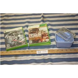 Pyrex Dish with Lid and 2 XBOX 360 Games