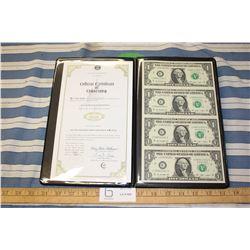 Authentic Sheet of Uncut $1 American Bills