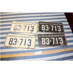 2 Sets of 1960 and 1961 License Plates