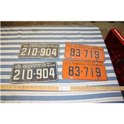 2 Sets of 1962 and 1963 License Plates