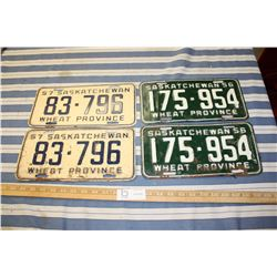 2 Sets of 1956 and 1957 License Plates