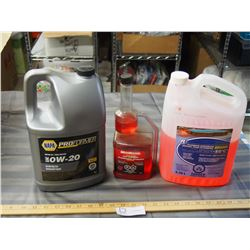 Plumbing Antifreeze, Fuel stabilizer and O W-20 Synthetic Oil (1/2 to 3/4 Full)