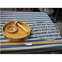 Glass Platter Dish plus Wooden Dish Tray