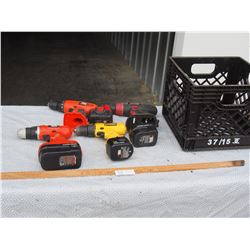 Mixed lot of Cordless Drills and Batteries