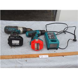 2 Makita Drills with Batteries and 1 Charger